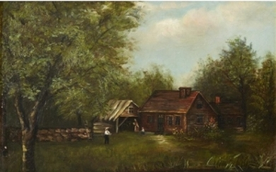 UNKNOWN ARTIST (20th century) UNTITLED (LANDSCAPE WITH LOG CABIN)...