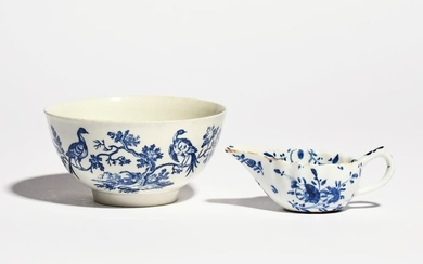 A Worcester blue and white slop bowl c.1770, print…