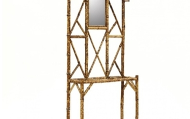 An Antique English Burnt Bamboo Etagere