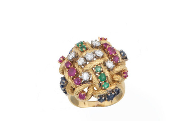 A diamond, ruby, sapphire and emerald dress ring,