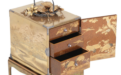 A magnificent gold-lacquer kodansu (small cabinet) with ensuite stand