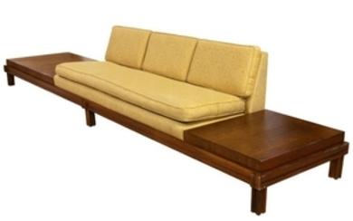 Mid Century Sofa - Attached End Tables