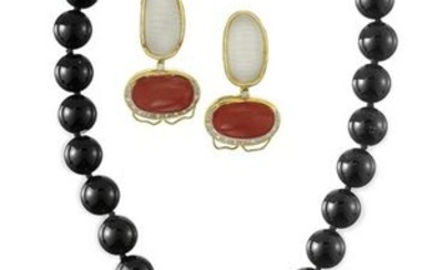 Onyx, Agate, Crystal and Diamond Jewelry Suite