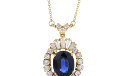 A sapphire and diamond pendant, on 18ct gold chain.