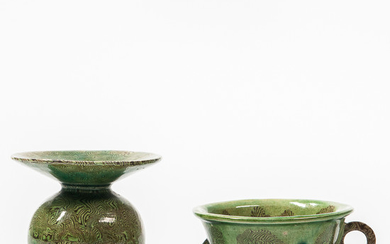Two Small Green-glazed Marbled Stoneware Items