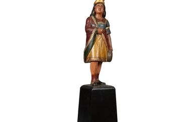 VERY FINE AND RARE CARVED AND POLYCHROME PAINT-DECORATED WOOD TOBACCONIST TRADE FIGURE IN THE FORM OF A NATIVE AMERICAN PRINCESS, ATTRIBUTED TO SAMUEL ANDERSON ROBB (1851-1928), NEW YORK, CIRCA 1880
