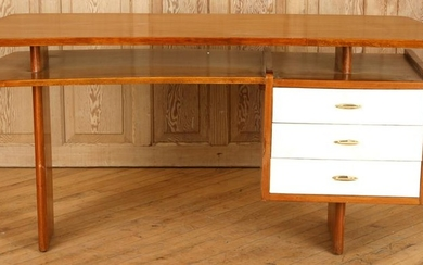 WALNUT TWO TIERED WRITING DESK CIRCA 1960