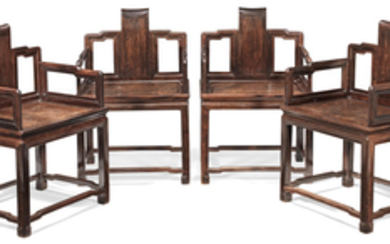 A rare set of four zitan armchairs