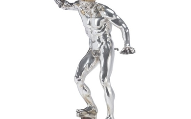 AN ITALIAN PARCEL-GILT SILVER AND ENAMEL FIGURE OF THE DANCING FAUN ON HARDSTONE BASE, 20TH CENTURY