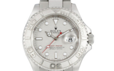 Rolex. A Fine Stainless Steel Bracelet watch with Date and Platinum Dial