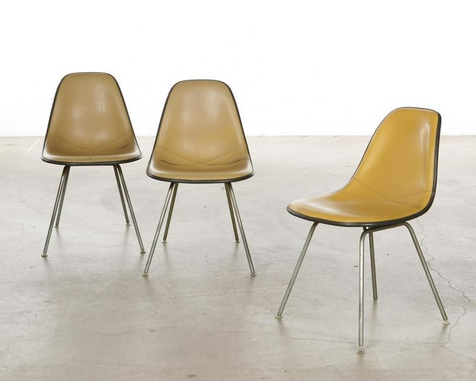 Three Eames for Herman Miller shell chairs