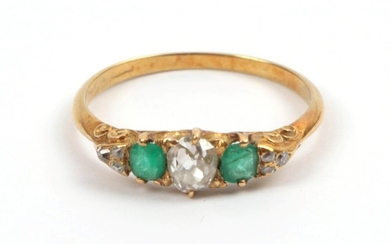 A Late 19th Century Emerald and Diamond Ring, an old...