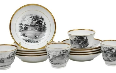 Set of Cups and Saucers with Mount Vernon