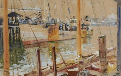 Cameron Burnside Watercolor Harbor Scene