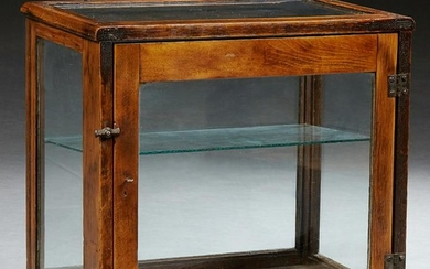 American Carved Oak Table Top Display Case, early 20th