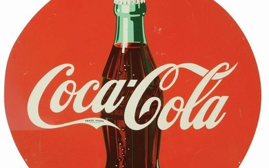 TIN COCA-COLA BOTTLE ADVERTISING SIGN.