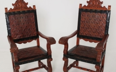 PR. OF EMBOSSED LEATHER RENAISSANCE STYLE CHAIRS