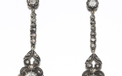 Ladies' Georgian Silver Topped Gold and Rose Cut Diamonds Pair of Earrings