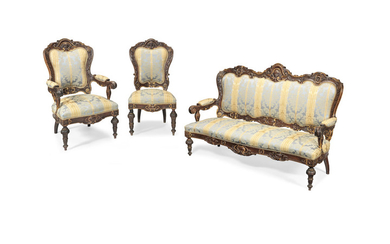 An Italian 19th century Neo-Baroque walnut and parcel gilt seven-piece drawing room suite