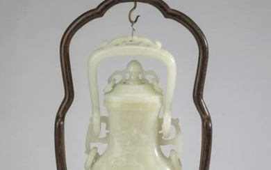 Chinese white jade lidded urn on stand, 17'h