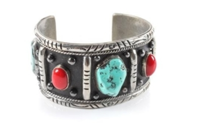 Southwestern Silver, Turquoise and Coral Cuff Bracelet