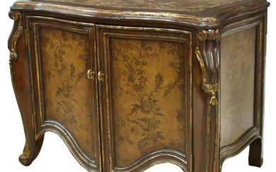LARGE PAINTED PARCEL GILT MARBLE-TOP CABINET