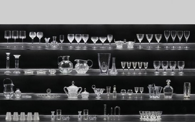 57 Pieces of Assorted Estate Glass Vases, Stemware, Etc