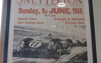 An Autocar poster advertising racing at Snetterton 1958,