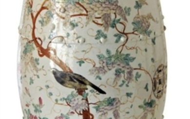 A Chinese porcelain barrel-form garden seat, early...