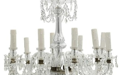 A Continental cut glass ten light chandelier