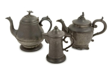 A Continental Pewter Teapot Height of tallest