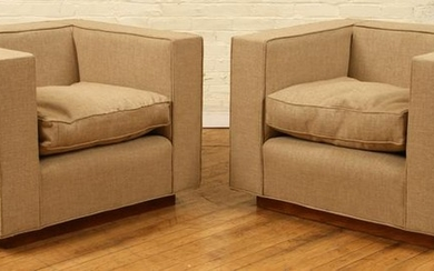 PAIR CUBE FORM CLUB CHAIRS MANNER JACQUES ADNET