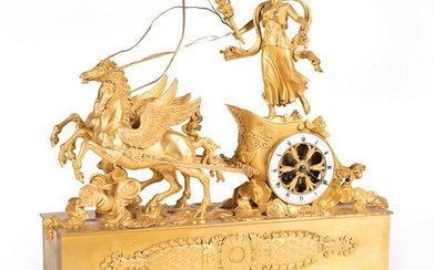 Empire Gilt Bronze Figural Mantel Clock