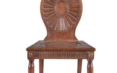 A GEORGE III MAHOGANY HALL CHAIR C.1790, in the Ma…