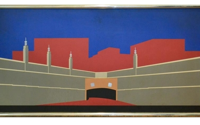 Mid-Century Modern Painting of Lincoln Tunnel, NYC
