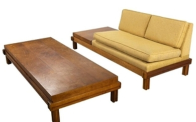 Mid Century Sofa - Attached Table & Coffee Table
