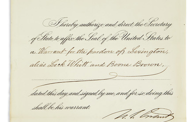 PRESIDENTIAL PARDON GRANT, ULYSSES S. Partly-printed Document...