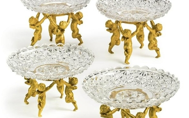 Two Pair of Baccarat Gilt Bronze Garniture de Table