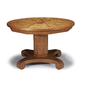 Patriotic marquetry center table made by Charles C. Simsalek...