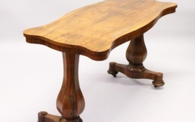 A 19TH CENTURY ROSEWOOD CENTRE TABLE, of shaped