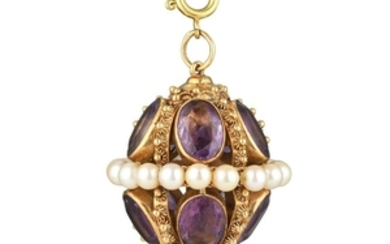 An Amethyst and Cultured Pearl Pendant