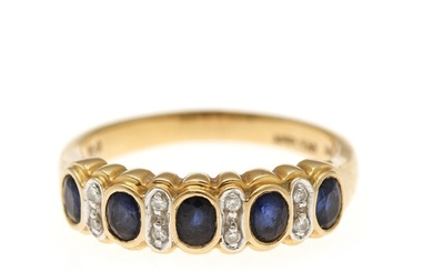 A sapphire and diamond ring set with five oval-cut sapphires and eight brilliant-cut diamonds, mounted in 18k gold. Size 61.5.