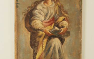 FRESCO PAINTING OF A FEMALE ALLEGORY MARKED SAPIENTIA