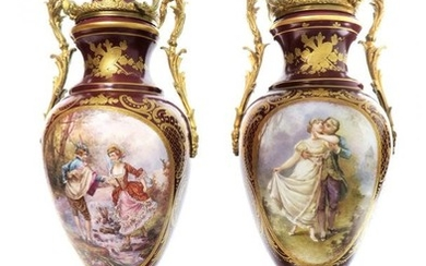 """Large Pair of French Hand Painted Sevres Vases 23"""""""
