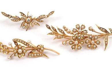 Three Early 20th Century Seed Pearl Set Brooches, one of...