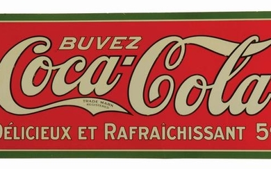 FRENCH COCA-COLA EMBOSSED TIN SIGN.