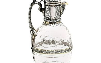 ANTIQUE VICTORIAN STERLING SILVER & GLASS CLARET JUG /