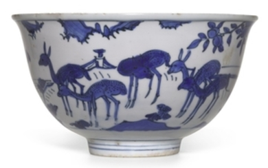 A BLUE AND WHITE 'LONGEVITY' BOWL MING DYNASTY, WANLI PERIOD