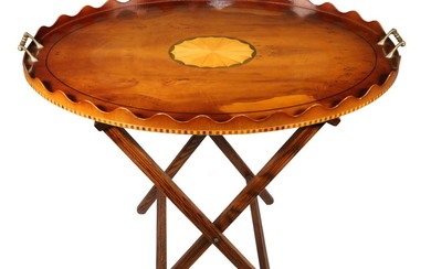 ENGLISH OVAL BUTLER'S TRAY ON FOLDING STAND