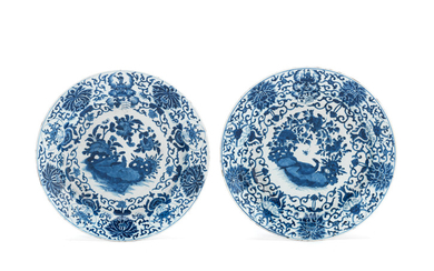 A pair of large blue and white Dutch-Market armorial dishes